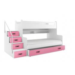 Patrová postel MAX 3 s úložným prostorem včetně matrací (Růžová)