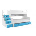 Patrová postel MAX 3 s úložným prostorem včetně matrací (Modrá)