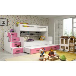 Patrová postel MAX 3 s přistýlkou včetně matrací (Růžová)