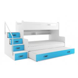 Patrová postel MAX 3 s přistýlkou včetně matrací (Modrá)