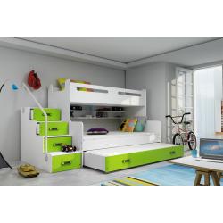 Patrová postel MAX 3 s přistýlkou včetně matrací (Zelená)