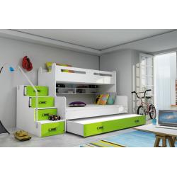 Patrová postel MAX 3 s úložným prostorem včetně matrací (Zelená)
