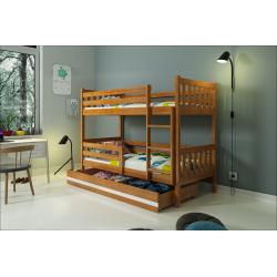 Patrová postel CARINO s úložným prostorem včetně matrací (Borovice)