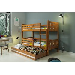 Patrová postel CARINO s přistýlkou včetně matrací (Borovice)