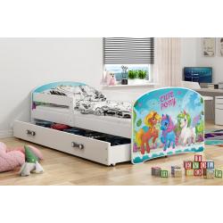 Dětská postel s úložným prostorem s motivem PONNY (PONÍCI)