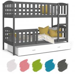 Patrová postel JAKUB včetně úložného prostoru (Šedá)