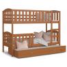 Patrová postel JAKUB pro 3 osoby s přistýlkou (Olše)