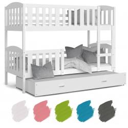 Patrová postel JAKUB pro 3 osoby s přistýlkou (Bílá)