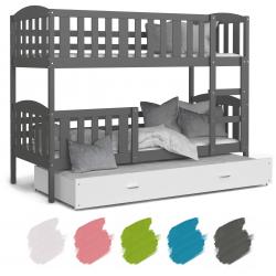 Patrová postel JAKUB pro 3 osoby s přistýlkou (Šedá)