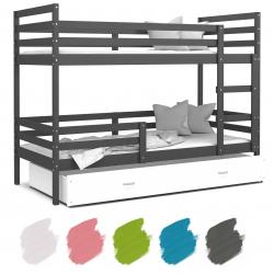 Patrová postel JACEK včetně úložného prostoru (Šedá)