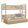 Patrová postel JACEK pro 3 osoby s přistýlkou (Borovice)