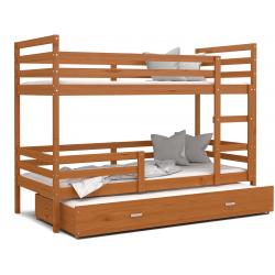 Patrová postel JACEK pro 3 osoby s přistýlkou (Olše)