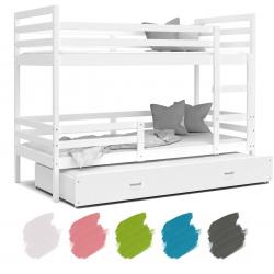 Patrová postel JACEK pro 3 osoby s přistýlkou (Bílá)