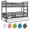Patrová postel JACEK pro 3 osoby s přistýlkou (Šedá)