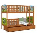 Patrová postel TAMY s různými motivy včetně úložného prostoru (Olše)