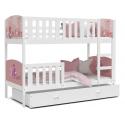 Patrová postel TAMY s různými motivy včetně úložného prostoru (Bílá)