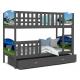Patrová postel TAMY s různými motivy včetně úložného prostoru (Šedá)