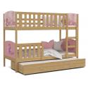 Patrová postel TAMY pro 3 osoby s různými motivy a přistýlkou (Borovice)