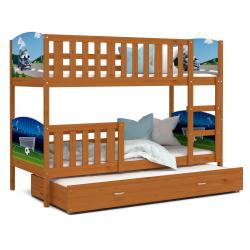Patrová postel TAMY pro 3 osoby s různými motivy a přistýlkou (Olše)