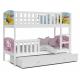 Patrová postel TAMY pro 3 osoby s různými motivy a přistýlkou (Bílá)