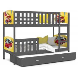 Patrová postel TAMY pro 3 osoby s různými motivy a přistýlkou (Šedá)