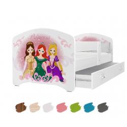 Dětská postel LUCKY s motivem PRINCESS (Princezny) včetně úložného prostoru