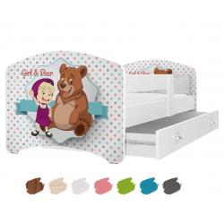 Dětská postel LUCKY s motivem MÁŠA & MEDVĚD včetně úložného prostoru