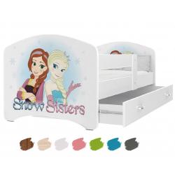 Dětská postel LUCKY s motivem SNOW SISTERS (Ledové království/Frozen) včetně úložného prostoru
