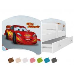 Dětská postel LUCKY s motivem BLESK MCQUEEN (Cars/Auta) včetně úložného prostoru