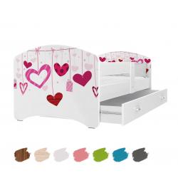Dětská postel LUCKY s motivem SRDÍČKA včetně úložného prostoru