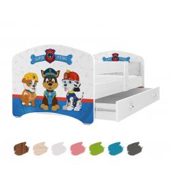 Dětská postel LUCKY s motivem PEJSCI včetně úložného prostoru