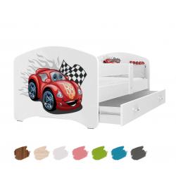 Dětská postel LUCKY s motivem AUTÍČKO včetně úložného prostoru