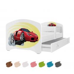 Dětská postel LUCKY s motivem FERRARI včetně úložného prostoru