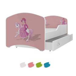 Dětská postel IGOR s motivem PRINCEZNA NA KONI včetně úložného prostoru