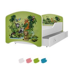 Dětská postel IGOR s motivem ZVÍŘÁTKA V PRALESE včetně úložného prostoru