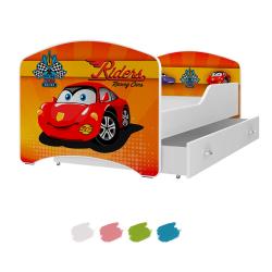 Dětská postel IGOR s motivem RACING CAR včetně úložného prostoru
