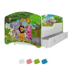 Dětská postel IGOR s motivem SAFARI ZVÍŘÁTKA včetně úložného prostoru