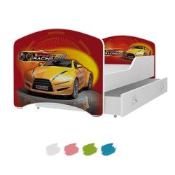Dětská postel IGOR s motivem SPEED RACING včetně úložného prostoru