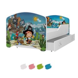 Dětská postel IGOR s motivem PIRÁTSKÝ OSTROV včetně úložného prostoru