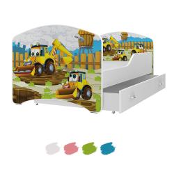 Dětská postel IGOR s motivem BAGRY včetně úložného prostoru