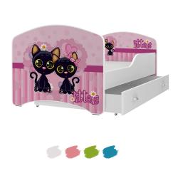 Dětská postel IGOR s motivem KOČKY včetně úložného prostoru