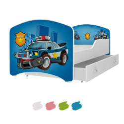 Dětská postel IGOR s motivem POLICIE včetně úložného prostoru