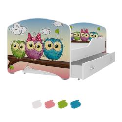 Dětská postel IGOR s motivem SOVIČKY včetně úložného prostoru