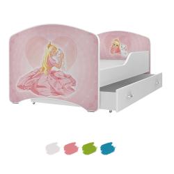 Dětská postel IGOR s motivem PRINCEZNA včetně úložného prostoru