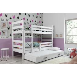 Patrová postel ERYK pro 3 osoby včetně matrací (Bílá)