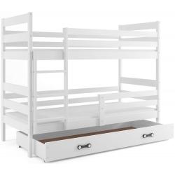 Patrová postel ERYK s úložným prostorem včetně matrací (Bílá)