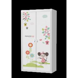 Šatní skříň FILIP 2D s motivem MYŠÁK MICKEY (Bílá)