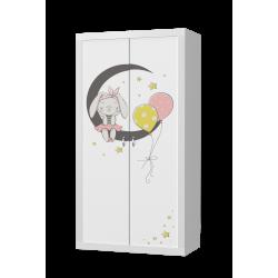 Šatní skříň FILIP 2D s motivem SLEČNA MYŠKA (Bílá)
