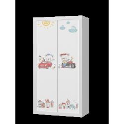 Šatní skříň FILIP 2D s motivem ŽIVOT SLEČNY MYŠKY (Bílá)