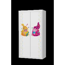 Šatní skříň FILIP 2D s motivem ŽIVOT PANA MYŠÁKA (Bílá)